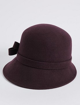 Marks and Spencer Pure Wool Velvet Bow Cloche Winter Hat