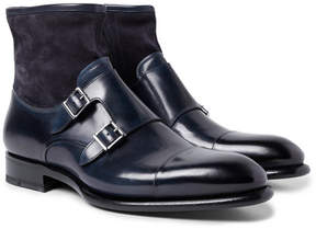 Santoni Cap-Toe Leather And Suede Monk-Strap Boots