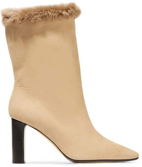 The Row Emil Shearling-trimmed Suede Boots - Sand