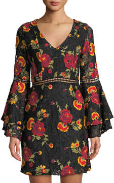Alexia Admor Floral Embroidered Lace Bell-Sleeve Dress