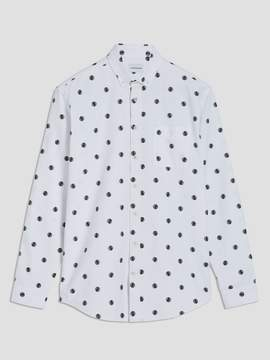 Frank and Oak Good Luck Printed Oxford Shirt in White