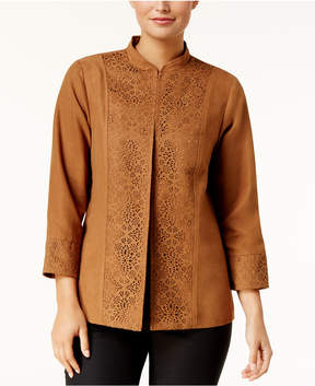 Alfred Dunner Jungle Love Faux-Suede Mandarin-Collar Jacket