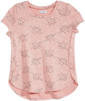 Love, Fire Big Girls Unicorn-Print Side Split Top