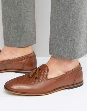 Asos Loafers In Tan Leather With Woven Detail