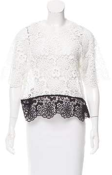 Cynthia Rowley Floral Guipure Lace Top