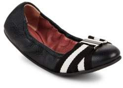 Bally Tippy Leather Striped Flats