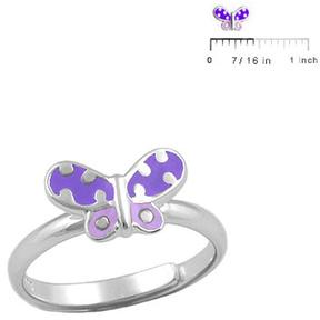 Ice Children Silver Purple Butterfly Adjustable Ring For Girls (Size 3-7)