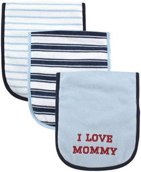 Luvable Friends Blue & Navy Stripe 'I Love Mommy' Burp Cloth Set