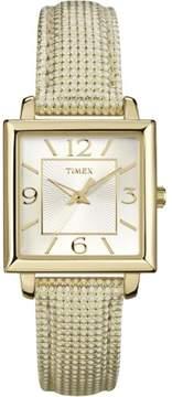 Timex Women's Classic Dress Watch | Square Case Metallic Leather Strap