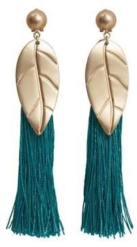Violeta BY MANGO Metal leaf fringed earrings