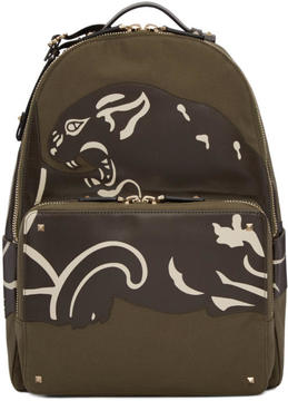 Valentino Green Garavani Canvas and Leather Panther Backpack