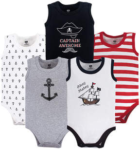 Hudson Baby White & Black Pirate Sleeveless Bodysuit Set - Infant