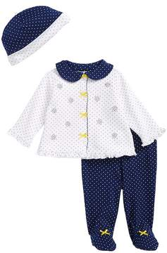 Little Me Daisy Dot Cardigan, Hat & Footed Pants Set (Baby Girls)