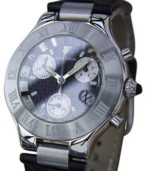 Cartier Chronoscaph Stainless Steel / Leather 38mm Mens Watch
