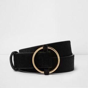 River Island Womens Black pony hair leather jeans belt