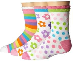 Jefferies Socks Daisy/Stripe/Dots Crew 3-Pack Girls Shoes