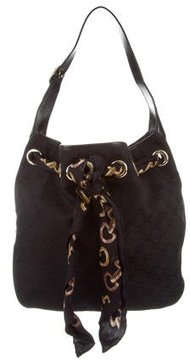 Gucci GG Canvas Positano Small Hobo - BLACK - STYLE