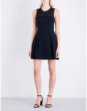 Claudie Pierlot Rabelais lace-detail crepe dress