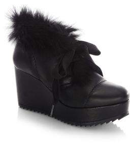 Pedro Garcia Ubon Shearling & Leather Lace-Up Wedge Booties