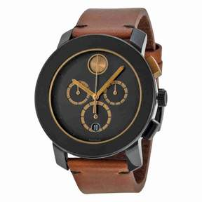 Movado Bold Chronograph Black Dial Cognac Leather Men's Watch 3600348
