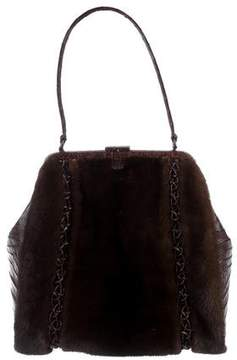 Nancy Gonzalez Crocodile-Trimmed Mink Bag