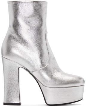 Saint Laurent Silver Platform Candy Boots