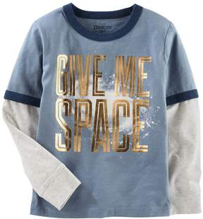 Osh Kosh Oshkosh Bgosh Boys 4-12 Glow in the Dark Give Me Space Metallic Ringer Tee