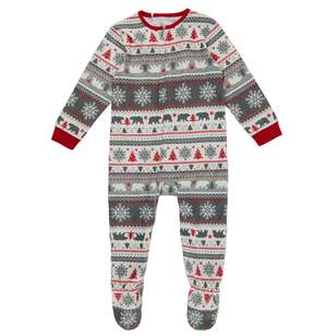 Cuddl Duds Toddler Family Jammies Bear Fairisle One-Piece Footed Pajamas