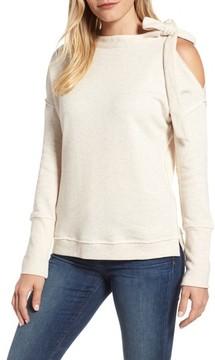 Caslon Women's Tie Cold Shoulder Sweatshirt