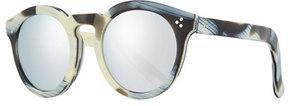 Illesteva Patterned Round Mirrored Sunglasses, Multi Pattern