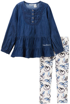 Calvin Klein Lightweight Denim Tunic & Floral Leggings Set (Toddler Girls)