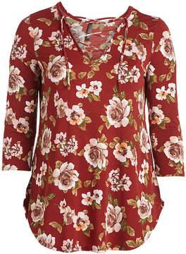 Celeste Wine Floral Crisscross Tunic - Plus