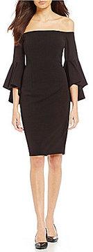 Calvin Klein Off-the-Shoulder Bell-Sleeve Sheath Dress