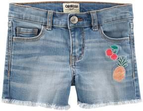 Osh Kosh Oshkosh Bgosh Girls 4-12 Frayed Hem Fruit Embroidered Jean Shorts