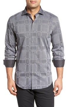 Bugatchi Men's Slim Fit Microstripe Plaid Sport Shirt