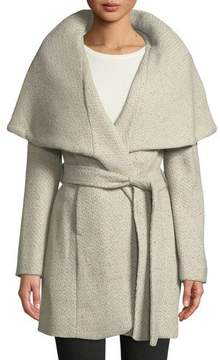 T Tahari Marla Wool-Blend Tweed Wrap Coat