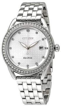 Citizen LTR Silver Dial Ladies Crystal Watch FE6110-55A
