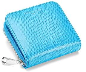 Aspinal of London Mini Continental Zipped Coin Purse In Aquamarine Lizard