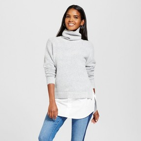 Cliche Women's Turtleneck Sweater to Woven Top Gray