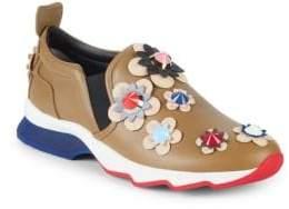 Fendi Floral Appliqué Leather Sneakers