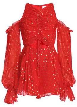 Alice McCall Did It Again Cold-Shoulder Fil Coupé Silk-Blend Chiffon Playsuit