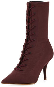 Yeezy Tall Canvas Lace-Up Boot, Oxblood