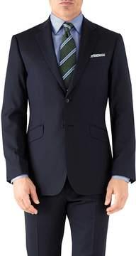 Charles Tyrwhitt Navy Herringbone Classic Fit Italian Suit Wool Jacket Size 38
