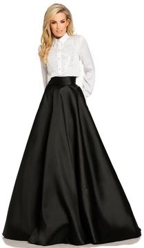 Johnathan Kayne 8097 Long Sleeve Charmeuse Taffeta Dress