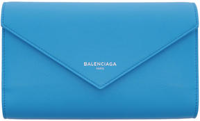 Balenciaga Blue Papier Money Zip Around Wallet
