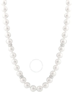 Bella Pearl Single Strand White Pearl Sterling Silver Necklace