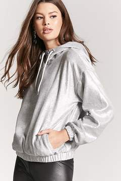Forever 21 Metallic Fleece-Knit Hoodie