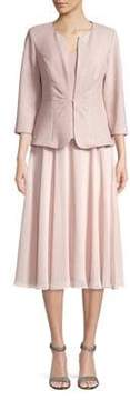 Alex Evenings Tea-Length Dress with Tuck-Front Jacket