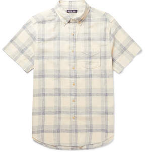 Alex Mill Slim-Fit Button-Down Collar Checked Linen And Cotton-Blend Shirt