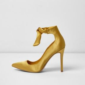 River Island Womens Yellow satin ankle tie up pumps